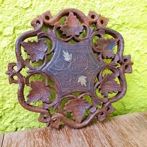 Vintage | Brass Inlayed Carved Wood Wall Art